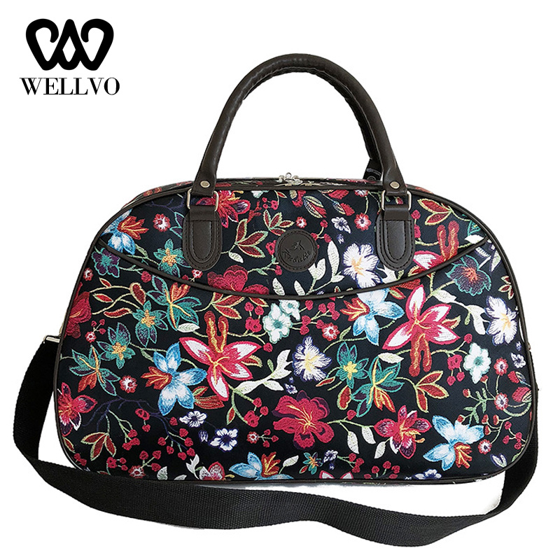 Leather Women Travel Bags Handbags New Fashion Portable Hand Luggage Floral Duffel Bag Waterproof Weekend Bag For Lady XA790WB