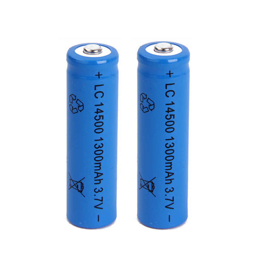 2pcs/lot Large capacity <font><b>14500</b></font> battery 3.7V 1300mAh rechargeable lithium battery for flashlight battery image