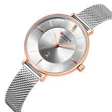 CURREN Ladies Watch Top Brand Simple Casual Style Wrist Watch Silver Stainless Steel Quartz Watch Mesh Women Relogios Waterproof все цены