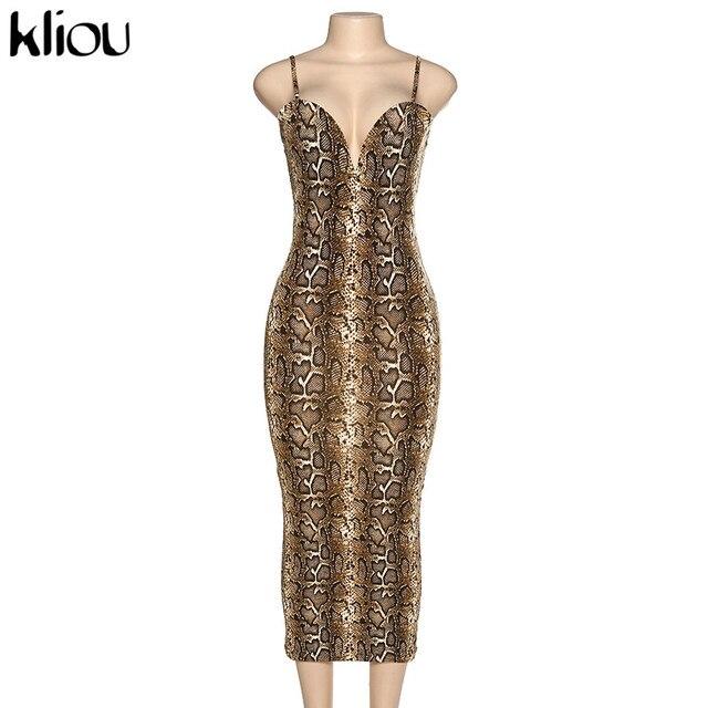 Kliou Sexy Serpentine print Women sleeveless Backless Elegant Slim Pencil Dress 2020 Adjustable shoulder strap banquet Dress 6