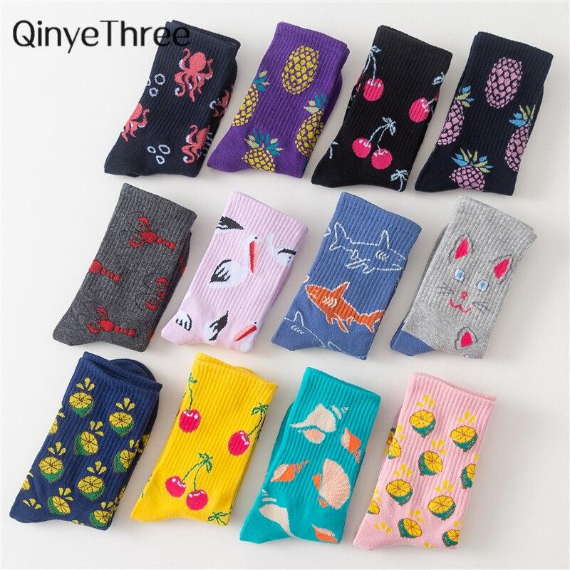 Women   Socks   Funny Cute Cartoon Fruits Cherry Pineapple Lemon Seafood Animal Cat Crane Shark Happy Harajuku skateboard   Socks