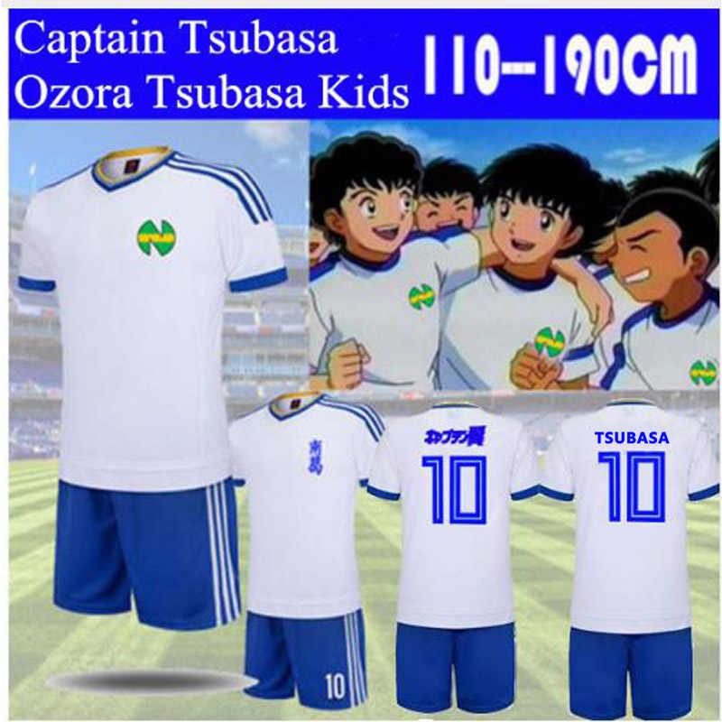 الكابتن Tsubasa الأبيض جيرسي دعوى نانكاتسو المدرسة الابتدائية Tsubasa Ozora تأثيري مجموعة ملابس كرة القدم