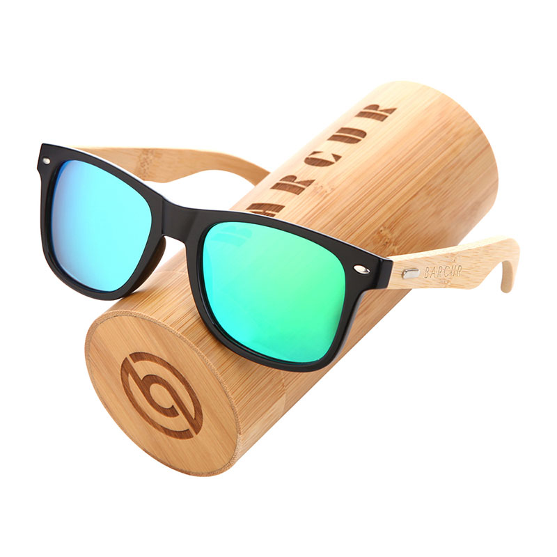 BARCUR Polarized Bamboo Sunglasses Men Wooden Sun glasses Women Brand Original Wood Glasses Oculos de sol masculino 9