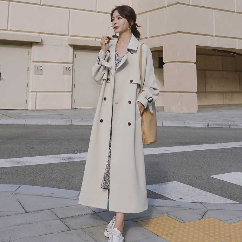Brand New Spring Fall Women Trench Coat Double Breasted X-Long Solid Beige Belted Storm Flaps Lady Duster Coat Cloak Outerwear