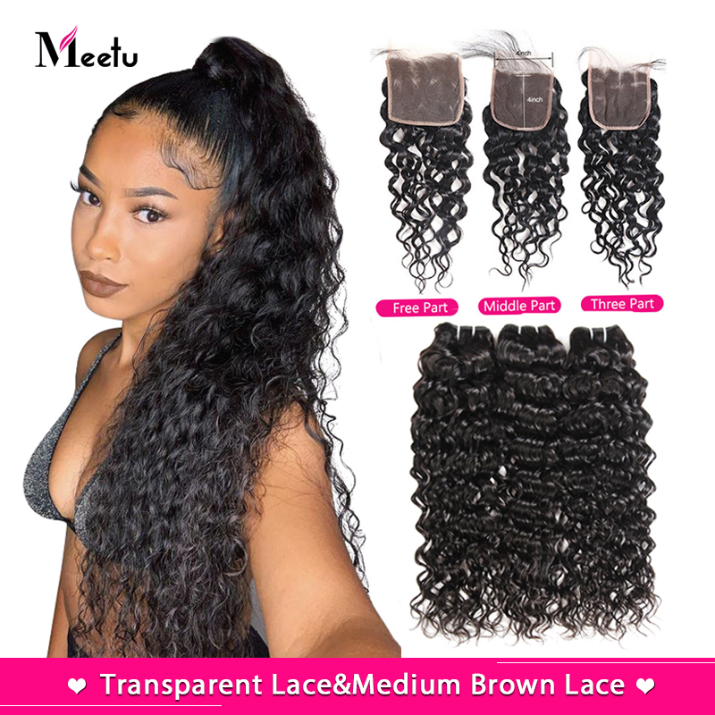 Meetu Water Wave Bundles With Closure Transparent Lace Closure With Bundles Brazilian Hair Weave Bundles With Closure Non Remy