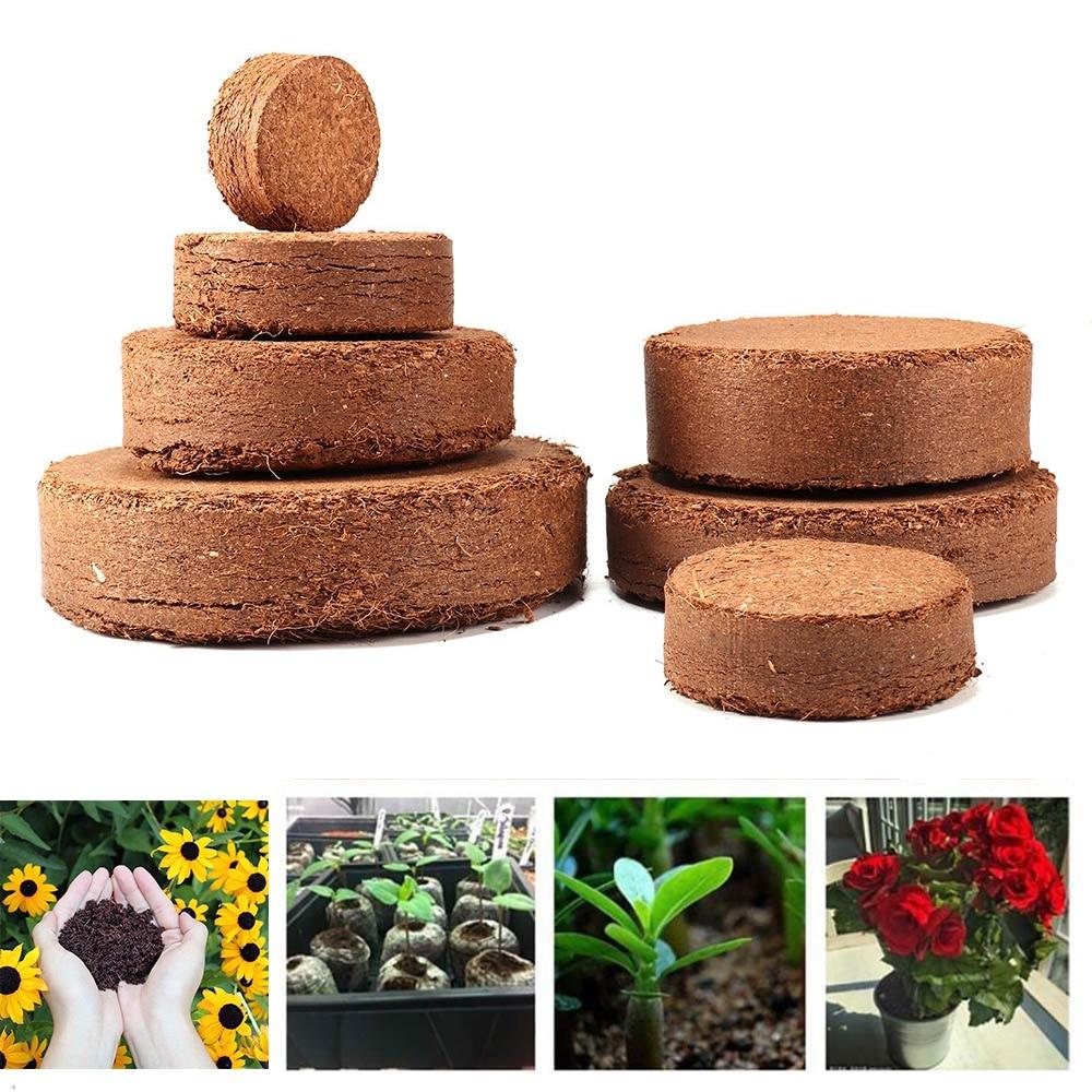 5Pcs Coconut Fiber Coir Pellet Nutrient Soil Lightweight Plant Compressed Base Garden
