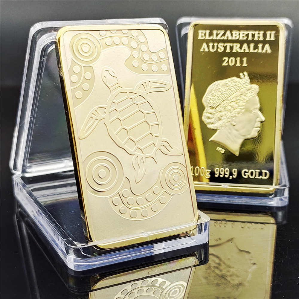2011 Year Elizabeth Australia 999.9 Gold Bar Tortoise Design Gold Plated Bullion Bar