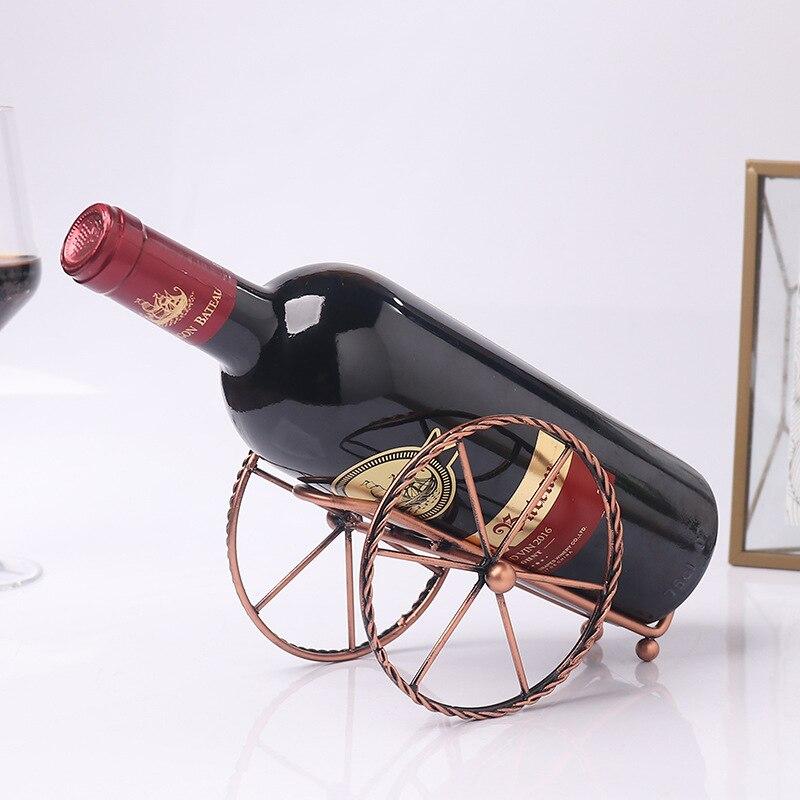 Decoraciones para el hogar de estilo europeo, sala de estar, decoración de fort, estante para vino, estante de exhibición de vino de arte del hierro, artesanía de metal