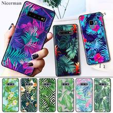Green Plant Leaf Black Silicone Case Cover Coque for Samsung Galaxy S8 S9 S10 S10e 5G Note 8 9 10 5G Plus S7 S7 Edge S8+ S9+ S10 цены онлайн