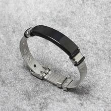 Fashion Stainless Steel Men Bracelet Mesh Black steel Charm Fine Bangle for Female Lover