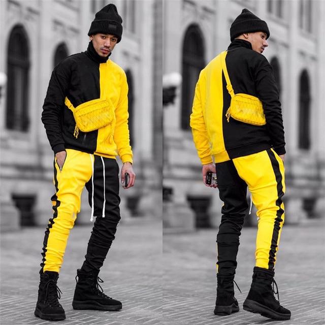 Strój sportowy marki męska casual strój sportowy moda kurtka z zamkiem + spodnie męski strój sportowy męska fitness jogging odzież sportowa