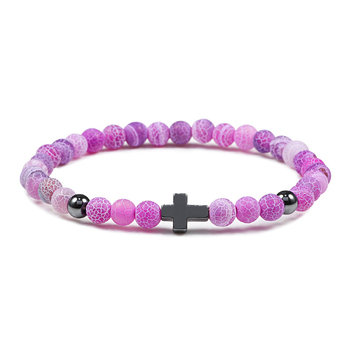 6mm Black Lava Rock Stone Onyx Beads Bracelets Classic Cross Stretch Tiger Eye Bracelet Religion Bangle Women Men Wrist Jewelry 3