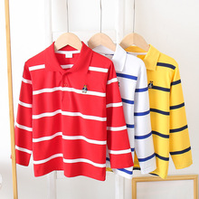 Fashion Striped Boys Polo Shirt Kids Tops Sports Tee Turn-down Collar Long Sleeve Polo Shirts 2-7Y Children's Clothing