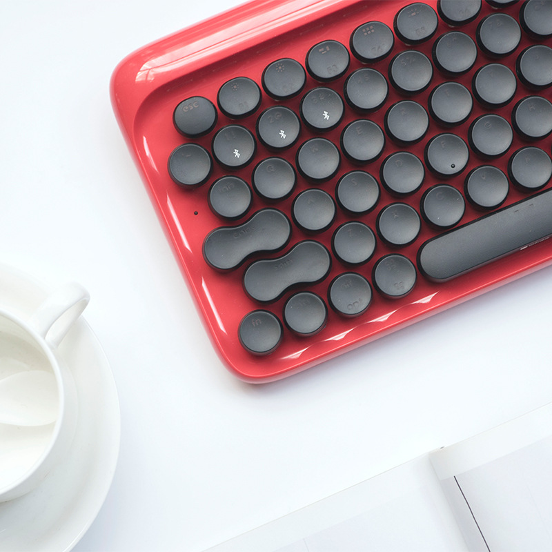 Red Circle Dot Bluetooth Wireless Retro Mechanical Keyboard For Tablet Apple MAC, EH112S 79 (key)