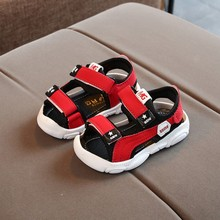 Summer New Children Shoes Boys Soft Bottom Beach Shoes Boys Baby Shoes Outdoor Anti-Kick Girls Sandals For Toddler Kids Shoes cheap sponge mice Rubber Soft Leather Flat Heels Hook Loop Fits true to size take your normal size Mixed Color Ankle-Wrap Unisex