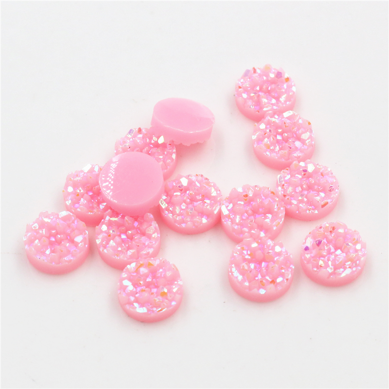 New Fashion 40pcs 8mm 10mm 12mm Pink AB Colors Natural Ore Flat Back Resin Cabochons For Bracelet Earrings Accessories