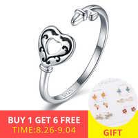 StrollGirl Mode 100% 925 sterling silber nette Hohle herz offenen größe einstellbare finger ringe für Frauen 2019 Schmuck Geschenke