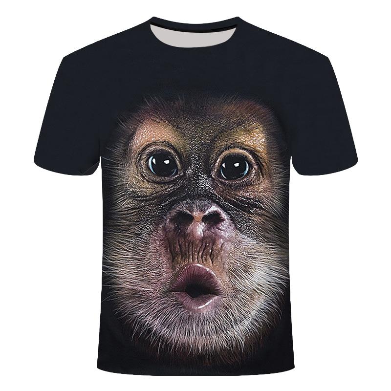 Summer 2020 3D T-shirt Printed Animal Gorilla Short Sleeve Funny Design Casual Shirt Tshirt Male Asian Size S-6XL