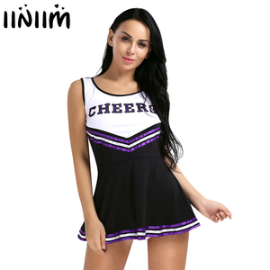 """Image 1 - Womens Cosplay Party Costume Cheerleader School Uniform Sleeveless Round Neck Printed """"CHEERS"""" Letters Fancy Mini Striped Dress"""