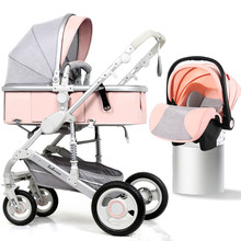 High Landscape Baby Stroller 3 in 1 Portable Luxury Baby Stroller with Car Seat Hot Mom Pink Stroller Travel Pram 8 Free Gifts стоимость