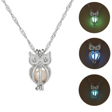 Glowing Owl Pendant Necklace Cute Luminous Women Necklaces  3 Colors Christmas Gift Jewelry