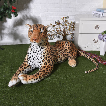 new creative plush simulation leopard toy real life leopard doll gift about 75cm xf2936
