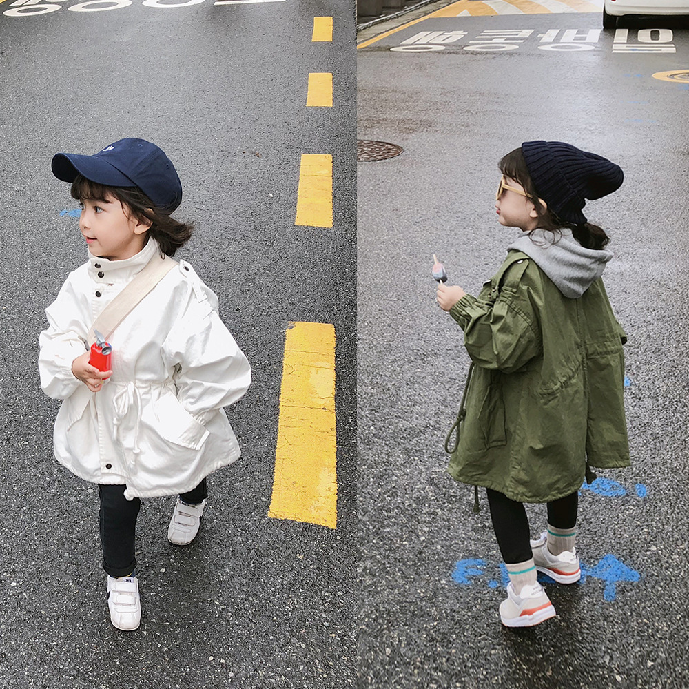 2 3 4 5 6 Years Kids   Trench   Coat Autumn High Quality Casual Korean Long Jackets for Girl Baby Child Clothing Outwear Windbreaker