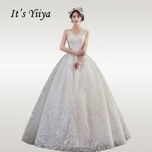 It's YiiYa Wedding Dresses Plus Size Elegant V-neck Wedding Dress 2020 Bow Sleeveless Floor Length Vestido De Novia  HS338