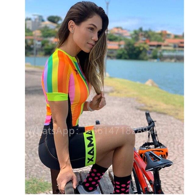 Pro equipe xama ciclismo triathlon terno feminino colorido manga curta macacão aero corrida trisuit ciclismo skinsuit correndo roupas 4