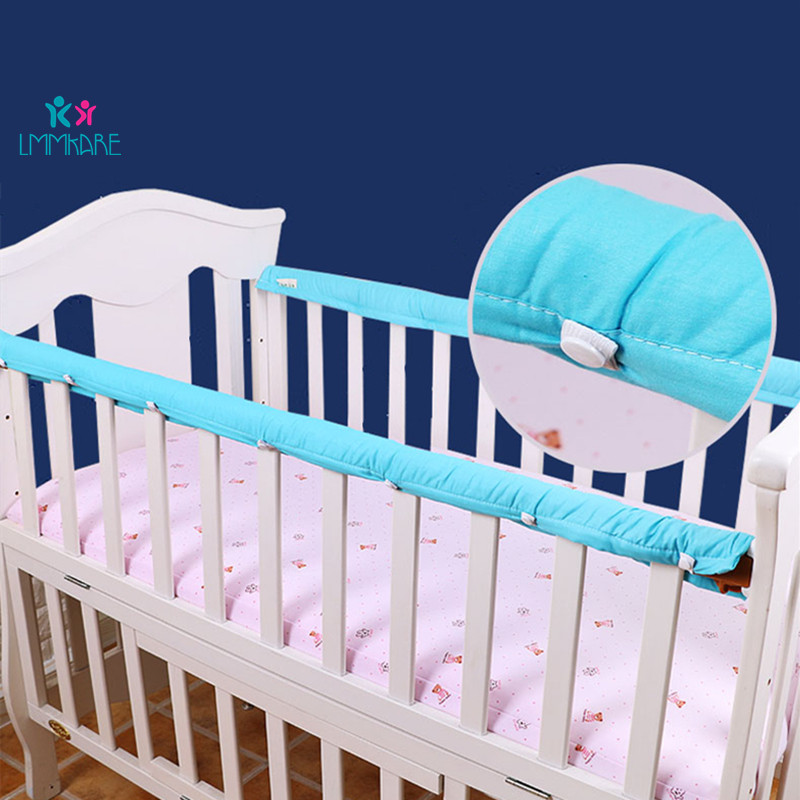 2pc/set Cotton Crib Bumper Baby Bedside Protective Thickened Bar Anti-collision Barrier Cover For Infant Protection Strip 5Color