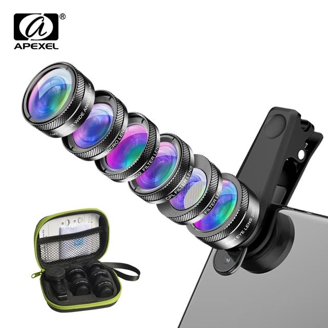 APEXEL Universal 6 in 1 Kit obiettivo fotocamera per telefono Fish Eye Lens obiettivo macro grandangolare filtro CPL/StarND32 per quasi tutti gli smartphone