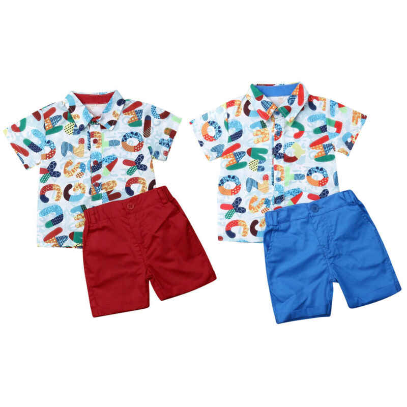 USA Baby Boy Kids Formal Gentleman Suit Lions Shirt+Shorts Pants Clothes Sunsuit