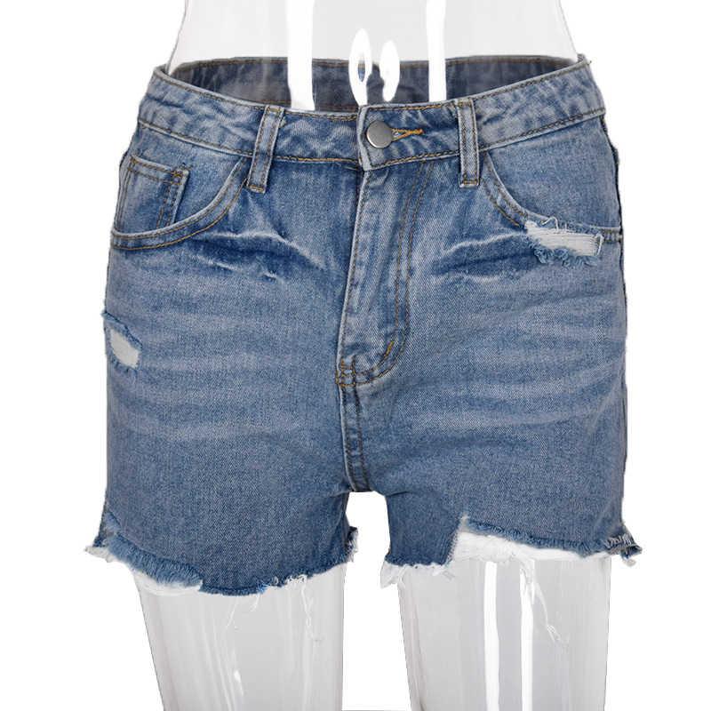 Boyfriend-Jeans Für Frauen 2020 Sommer Ripped Hohe Taille Jeans Plus Größe Gerade Shorts Frauen Sexy Dünne Kurze Jeans Feminino