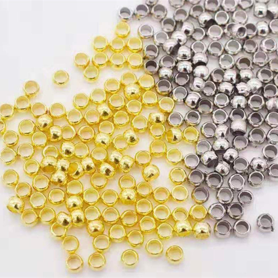 300pcs Stainless Steel Round Beads Crimp End Bead Jewelry Findings And Components Hand Made(China)