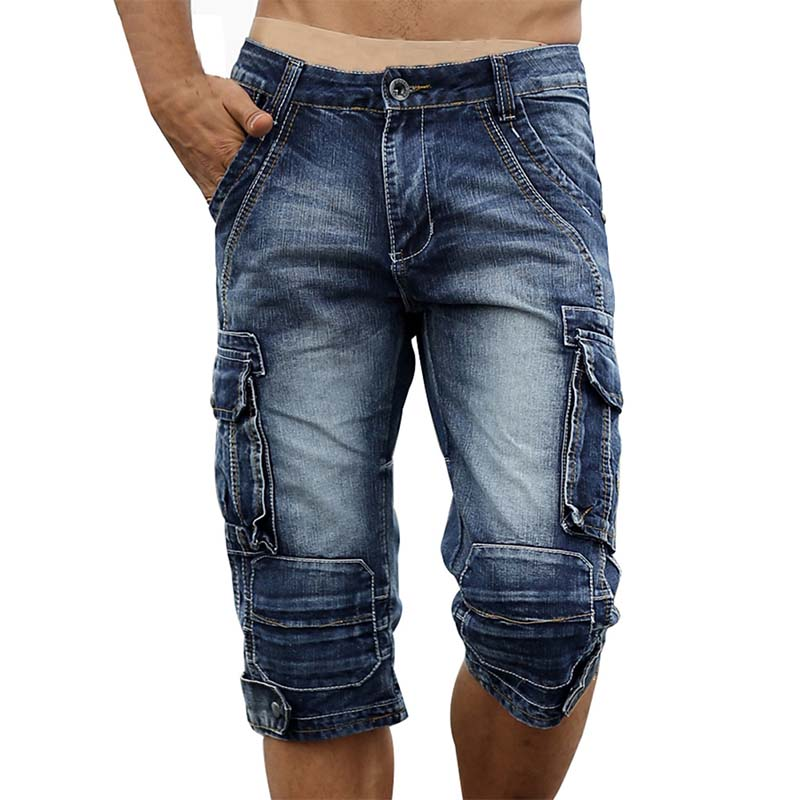 KIOVNO Fashion Men's Cargo Denim Shorts Military Style Casual Jeans Shorts For Male Multi Pockets Cotton Size 29-40