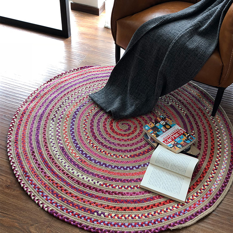 Handmade Cotton Woven Round Carpets For Living Room Computer Chair Round Rug Kids Play Floor Sofa Coffee Table Mat Soft Rugs