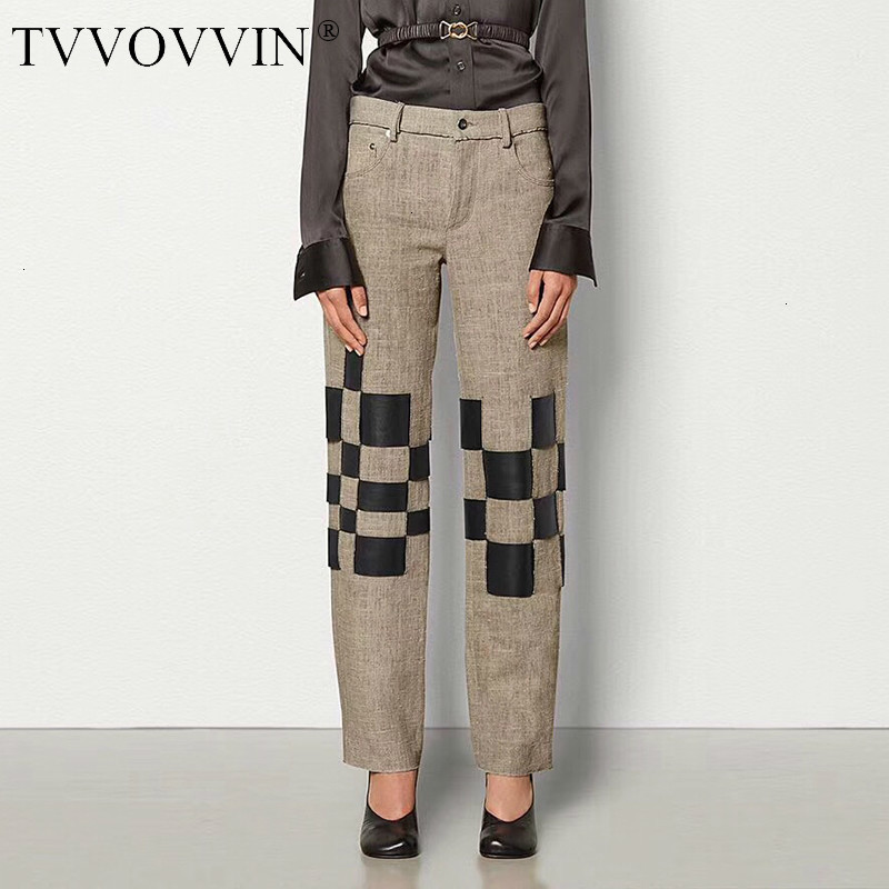 TVVOVVIN Patchwork Hit Color Women' Pants High Waist Pocket Large Size Straight Casual Trousers Female 2019 Autumn Fashion L672