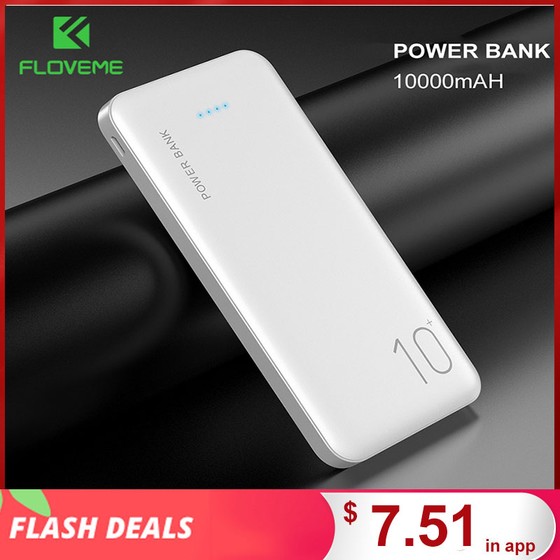 FLOVEME Power Bank 10000mAh Portable Charger For Samsung Xiaomi mi Mobile External Battery Powerbank 10000 mAh Poverbank Phone(China)
