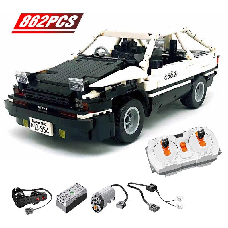 2020 New 862Pcs Remote Control Racing Car Building Blocks AE86 Technic Drift Racing Car Bricks Toys for Children Boy