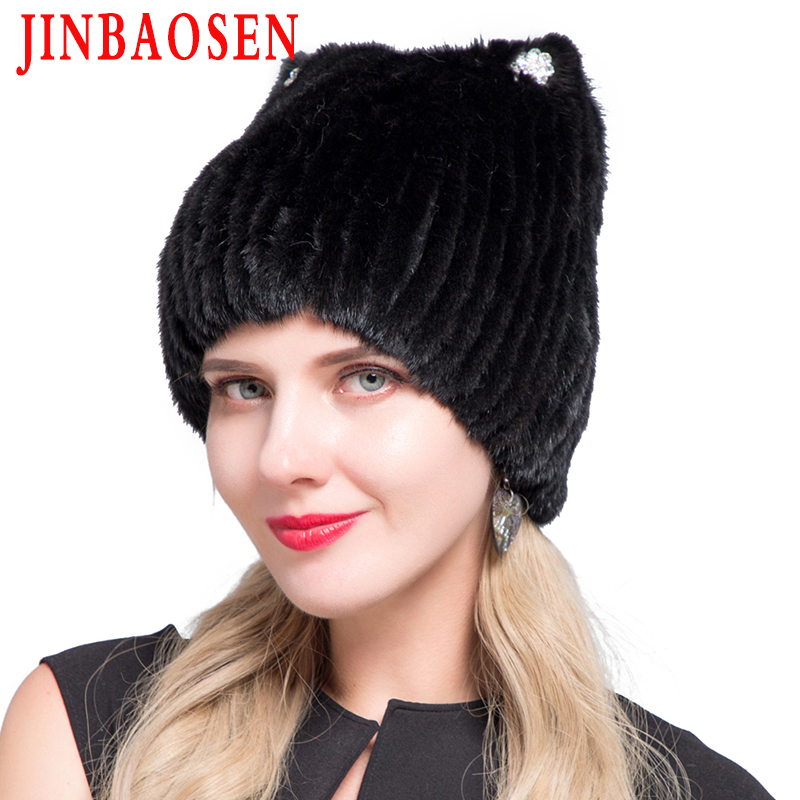 JINBAOSEN 2019 Winter Women's Mink Fur Hat Knitted Sweater Hat New Fashion Cat Ears Style European And American Style Ski Caps
