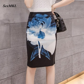 Fashion Hihg Waist Skirt Women 2020 Spring Summer Floral Printed Casual Midi Skirts Womens Bodycon Korean Office Pencil Skirt 2019 newly fashion droppshiping womens office skirt casual skirt pencil skirt ol skirt office wear bfj55