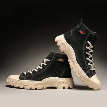 2019 męskie buty zimowe buty trend brytyjski męskie buty Retro buty fala oprzyrządowanie buty moda męska buty śniegowce chłopiec buty do pracy tanie i dobre opinie Kalorzze Podstawowe Płótno ANKLE Lace-up Stałe Dla dorosłych Pasuje prawda na wymiar weź swój normalny rozmiar Okrągły nosek