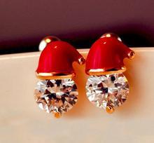 цена на Christmas Gift Ear Stud Zircon Drop Oil Diamond Set Snowman Hat Ear Stud