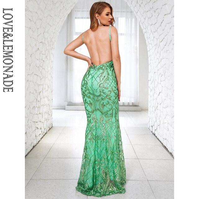 LOVE&LEMONADE Sexy Deep V-Neck Open Back Light Green Sequins Bodycon Bridesmaid Maxi Dress LM81225-2 6