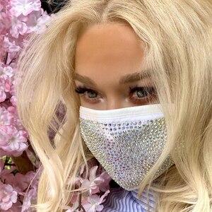 2020 Fashion Sparkly Rhinestone Mask Elastic Reusable Washable Bling Mask For Face With Rhinestone Decoration Face Jewelry