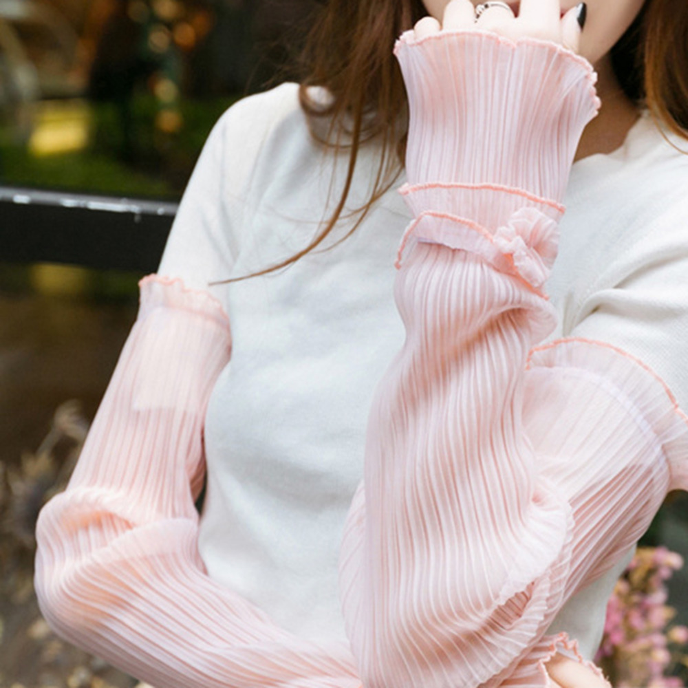 Korean Version Arm Sleeves Women Summer Sun Protection Mesh Lace Thin Long-sleeved Breathable Female Elegant Cycling Arm Sleeve
