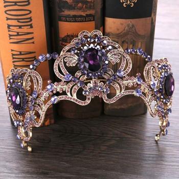 FORSEVEN barokowy fioletowy kryształ perła korona diadem dla panny młodej chluba włosów biżuteria ślubna akcesoria do włosów kwiat dla panny młodej korony JL tanie i dobre opinie CN (pochodzenie) Ze stopu cynku Moda Metal Hairbands Kobiety Archiwalne Hairwear 31903 PLANT