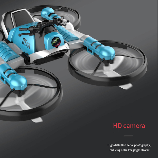 WiFi FPV RC Drone Motorcycle 2 in 1 Foldable Helicopter Camera 0.3MP Altitude Hold RC Quadcopter Motorcycle Drone 2 in 1 Dron