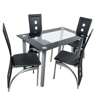 110cm Tempered Glass Dining Table Set 4 Chairs Dining Set Modern Kitchen Table And Chairs Set SKU82947862
