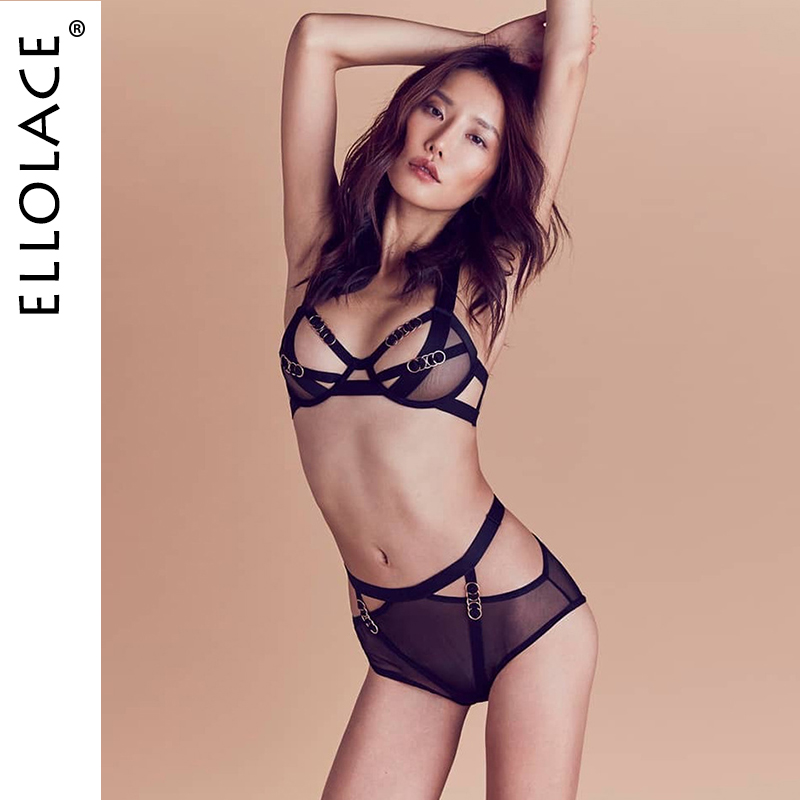 Ellolace Sexy Underwear Lingerie 2 Piece Set Women Bandage Bra Party Set Black Mesh Lingeries Female Transaprent Women Bra Sets